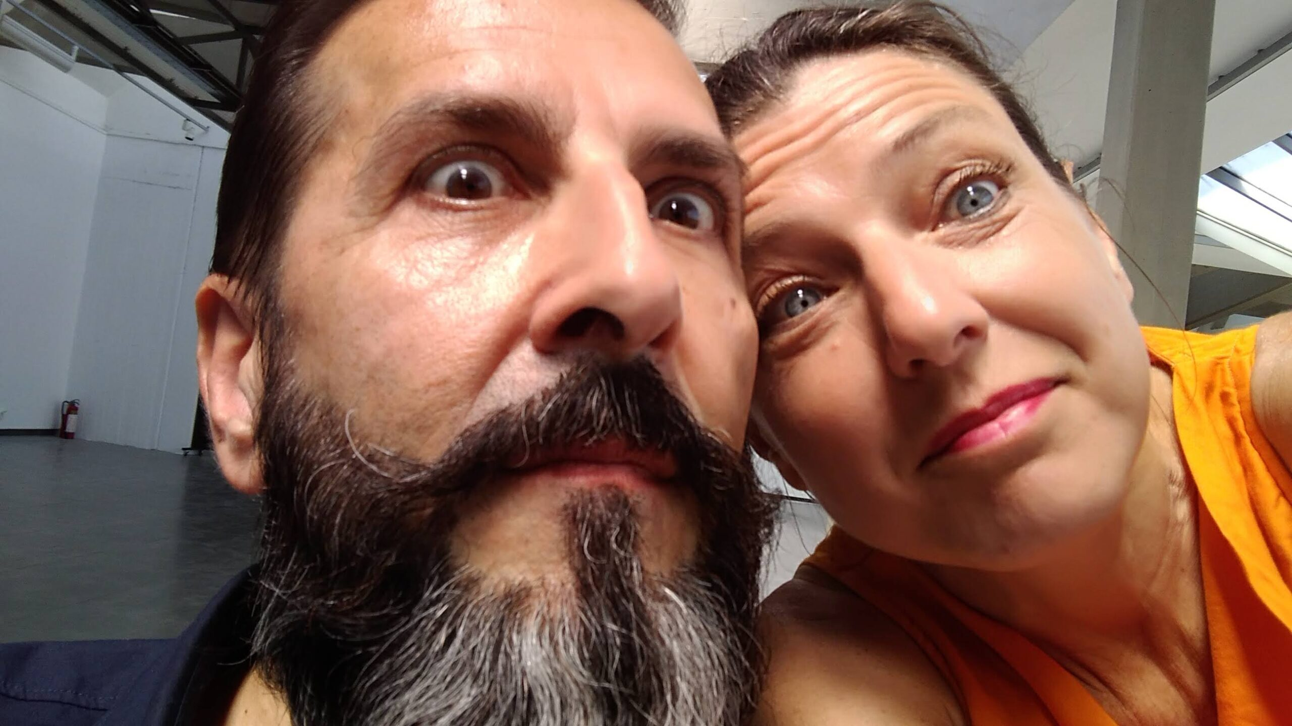 """Enzo Pellegrini and Anna Maria Piccoli of MuLab caught by surprise in an """"unofficial"""" shot during the final event of the EU Project Talent Matching Europe at the MoCA (Musem of Contemporary Art) Skopje. Of course, the photo ended up on social media without approval."""